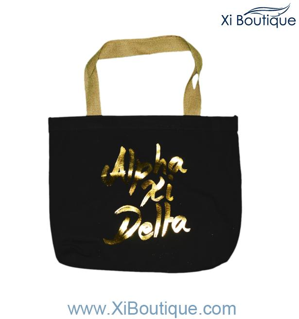 442d42f3228b Xi Boutique Accessories - Black Canvas Tote with Gold Alpha Xi Delta